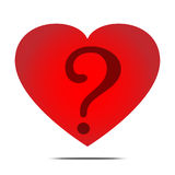 Red heart and question mask vector royalty free illustration