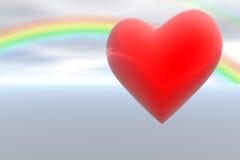 Red heart and rainbow sky Stock Photos
