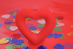 Red heart on a red background, Love, valentines day,. Selective focus Royalty Free Stock Images