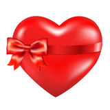 Red Heart With Red Bow Royalty Free Stock Photos