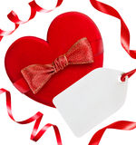 Red heart with red bow, ribbons and blank tag, Stock Photo