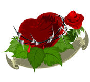 Red heart with red rose Royalty Free Stock Images
