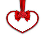 Red Heart with Red Rose, Ribbon and Bow for Happy Valentines Day Royalty Free Stock Photo