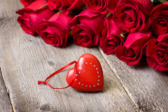 Red heart, red roses Royalty Free Stock Photography