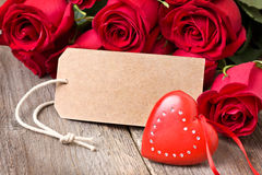 Red heart, red roses Royalty Free Stock Images