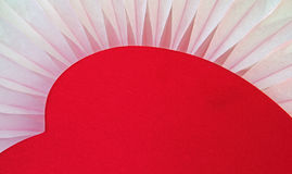 Red Heart resting on soft tissue fan Stock Photography