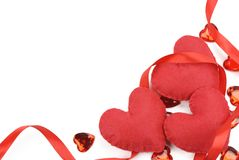 Red heart with ribbon Royalty Free Stock Images