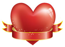 Red heart and ribbon Stock Images