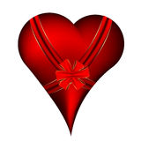Red heart with ribbon Stock Image