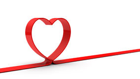 Red heart ribbon. Isolated on white background Royalty Free Stock Photo