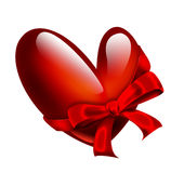 Red heart with ribbon Royalty Free Stock Photos