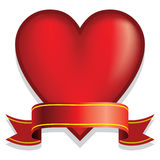 Red heart with ribbon Royalty Free Stock Photography