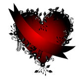Red Heart with Ribbon. Flower heart ,with a ribbon wrapped around it, red and black over a white background Royalty Free Stock Photos