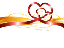 Red heart ribbon. Red heart shape ribbon on white background Royalty Free Stock Images