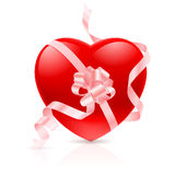 Red Heart with ribbon Stock Photos