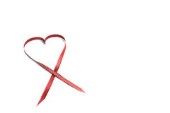 Red Heart Ribbon With Copy Space Stock Photo