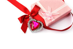 Red heart, ribbon and gift boxes