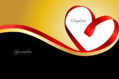 Red heart ribbon on gold background. Vector royalty free illustration