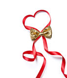 Red heart ribbon with golden bow Royalty Free Stock Photo