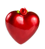 Red heart with a ribbon for hanging isolated on white background Royalty Free Stock Photography