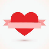 Red heart with ribbon icon  on white background vector Royalty Free Stock Photos
