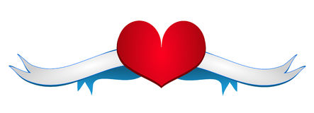 Red heart with ribbon Stock Photography