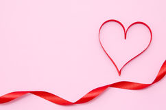 Red heart ribbon Stock Photo