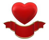 Red heart with ribbon Royalty Free Stock Image