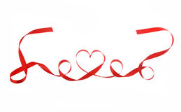 Red heart ribbon isolated Stock Photography