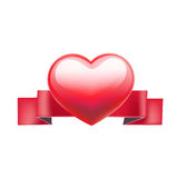 Red heart with ribbon isolated on white Royalty Free Stock Image