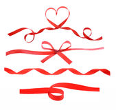 Red heart ribbon isolated on white Stock Images