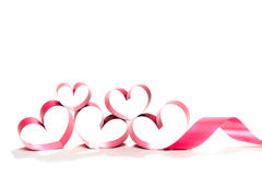 Red heart ribbon isolated on white background royalty free stock photography