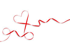 Red Heart Ribbon Valentines Day Love Stock Image