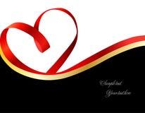 Red heart ribbon. Vector stock illustration