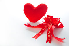 Red heart and ribbon Stock Photo