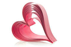 Red heart of ribbons Royalty Free Stock Photography