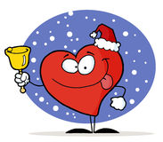 Red Heart Ringing And Wearing A Santa Hat. In The Snow stock illustration