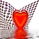 Red heart and ripples. Red heart in water graphic illustration with curved pebbles background Royalty Free Stock Image