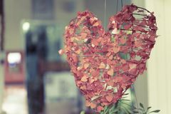 Red heart in a romantic garden at dawn. Royalty Free Stock Photo
