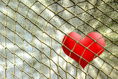 Red heart in rope net against wall. Red heart in rope net against stone wall vector illustration