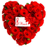 Red heart from rose flowers with white card 8 March Stock Images