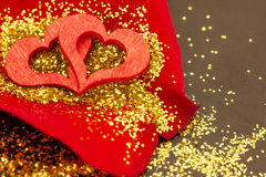 A red heart on a rose petal Royalty Free Stock Photos
