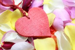 A red heart on rose petals. The picture shows a red heart on colorful rose petals royalty free stock photography