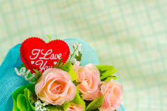 Red heart and roses Royalty Free Stock Images