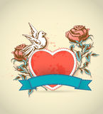 Red heart, roses and dove Stock Photography