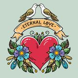 Red heart with roses, leaves, ribbon and doves. Lettering Eternal Love on ribbon. Two doves sit on ribbon and kiss. Holiday illustration for Valentines Day Stock Photos