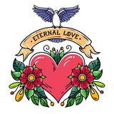 Red heart with roses, leaves, ribbon and white dove.Lettering Eternal Love on ribbon.Holiday illustration.Valentines Day. Red heart with roses, leaves, ribbon Royalty Free Stock Photography