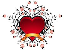 Red heart with roses, vector Royalty Free Stock Image