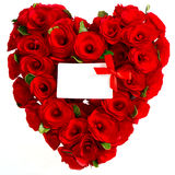 Red heart of roses with white card Stock Image