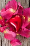 Red heart with roses Royalty Free Stock Images